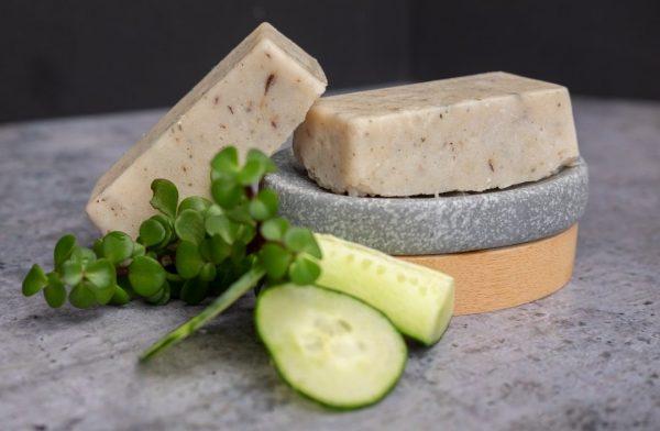 Spekboom and Cucumber hot process soap bars with real fresh spekboom and Cucumber added.